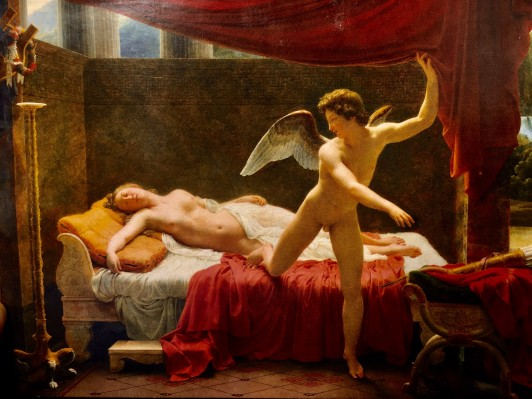 私が担当した、新古典主義の画家、フランソワ=エドゥアール・ピコの『アモルとプシュケ』。ダヴィッドのナポレオンの戴冠の絵の向かい側に展示されています。