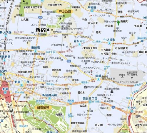 新宿区牛込、若松町付近から四谷 (クリックすると拡大します)