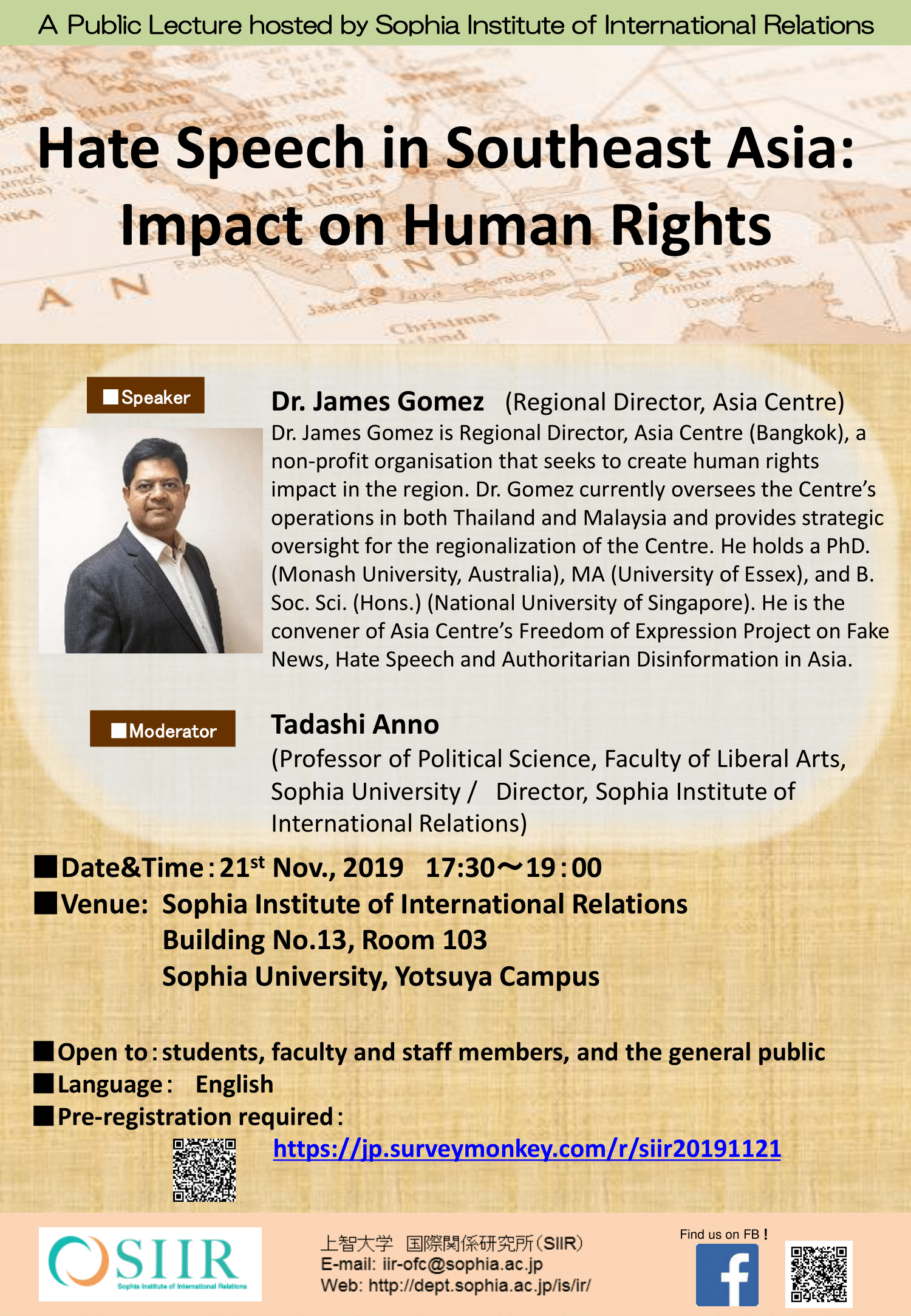 "Public Lecture, ""Hate Speech in Southeast Asia:  Impact on Human Rights"""