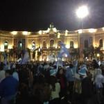 広場での祝賀会