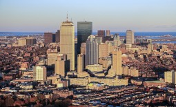 Aerial helicopter flight over Boston in a Bell Jet Ranger III, Autumn 2013.