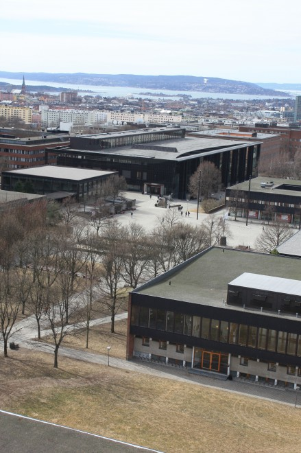 campus from above early spring uio