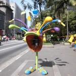 サンパウロ市の一番高いところを走るパウリスタ大通りにある、ユニークな公衆電話(ブラジル)