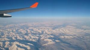飛行機の窓から見たシベリア