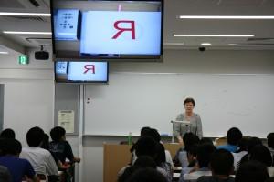 吉住エレナ教授による模擬授業の様子