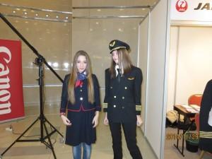 JALのパイロットとCAさんの制服コーナー
