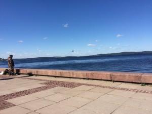 ぺトロザヴォーツクから見たオネガ湖。このオネガ湖の中にキジ島がある。
