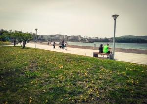 休日の海辺。大学内外からたくさんの人が訪れ、犬の散歩をする人もいればレジャーシートを敷いてピクニックをする家族連れ、ローラースケートやスケボーで駆け回る子供(と大人)など、各々の休日を過ごしています。最近は暖かくなってきたので海水浴をする人も。イベントが催されているとさらに賑やかになります