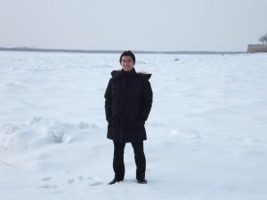入社後初出張時(ハバロフスク)に凍ったアムール川の上で撮影したもの