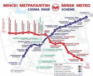 ミンスク地下鉄の路線図
